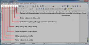 Pasek narzędziowy Zotero pojawia się wLibreOffice Writer poinstalacji rozszerzenia. Zazwyczaj umieszczony jest nasamej górze, polewej stronie.