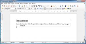 Obraz przedstawia bibliografię załącznikowa umieszczoną wdokumencie LibreOffice Writer przy pomocy Zotero