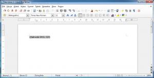 Obraz przedstawia odnośnik docytowanej pozycji umieszczony wdokumencie LibreOffice Writer przy pomocy Zotero