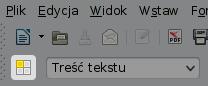 Ikona otwierająca okno Style iformatowanie, napasku narzędziowym, zaraz podikoną otwierania nowego dokumentu