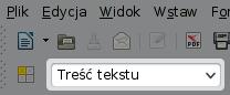 Lista rozwijana wyboru stylów napasku narzędziowym, podikonkami dootwierania izapisywania dokumentów