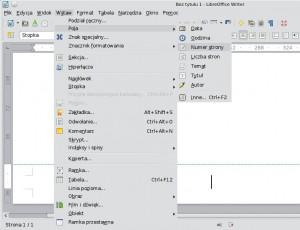 Menu LibreOffice zzaznaczonymi pozycjami: Wstaw → Pola → Numer strony