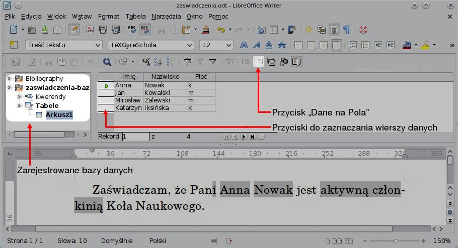 Korespondencja Seryjna Libreoffice Writer