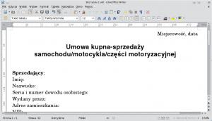 Dokument tekstowy LibreOffice stanowiący podstawę dalszej pracy