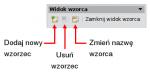 Okienko pokazujące się, gdywłączony jest widok wzorca slajdów. Przeznaczenie ikon (odlewej): dodaj nowy wzorzec, usuń wzorzec, zmień nazwę wzorca, zamknij widok wzorca