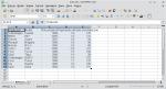 Okno programu Calc. Zaznaczono wiersze i kolumny składające się na bazę danych.