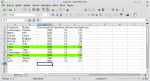 Okno programu Calc. Baza danych po zaaplikowaniu formatowania warunkowego. Dwa wiersze mają odmienne tło.