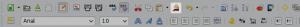 Umiejscowienie przycisku Malarz formatów nadomyślnym pasku narzędziowym LibreOffice.