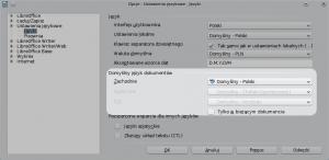 Okno ustawień LibreOffice. Wczęści Język można zmienić język dokumentu.