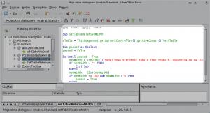 Okno edytora makr LibreOffice zzaznaczonym głównym obszarem edycji.
