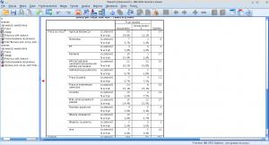 Okno raportu programu SPSS. Zaznaczono przykładową tabelę.
