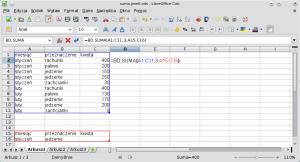 Okno programu Calc pokazujące przykładowy arkusz zwprowadzoną funkcją BD.SUMA. Wkomórce A15 wpisano tekst miesiąc; wkomórce B15 — tekst przeznaczenie; wkomórce C15 — tekst kwota. Wkomórce A16 wpisano tekst styczeń, zaś wkomórce B16 — tekst jedzenie.