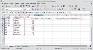 Okno programu Calc pokazujące przykładowy arkusz zwprowadzoną funkcją SUMA.ILOCZYNÓW.