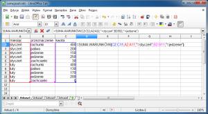 Okno programu Calc pokazujące przykładowy arkusz zwprowadzoną funkcją SUMA.WARUNKÓW.