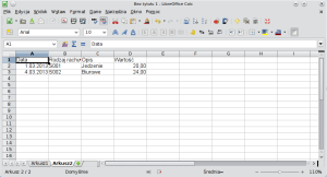 Okno programu Calc pokazujące fragment przykładowej bazy danych