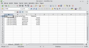 Okno programu Calc pokazujące przykładową bazę danych