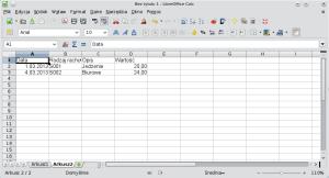 Okno programu Calc pokazuje fragment bazy danych, identyczy ztym, którybył oczekiwany