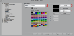Okno edycji palety kolorów z zaznaczonymi elementami, które trzeba wcisnąć, aby dodać nowy kolor
