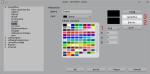 Okno edycji palety kolorów zzaznaczonymi elementami, które trzeba wcisnąć, aby zmienić istniejący kolor