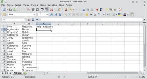 Okno programu Calc pokazujące przykładową bazę danych. Wkolumnie Awpisane są imiona, wkolumnie B zaś nazwiska.