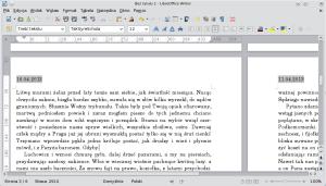 Okno programu Writer. Pokazane są dwie strony —ta polewej ma wnagłówku dzisiejszą datę, ta poprawej jest opatrzona datą sprzed kilku dni