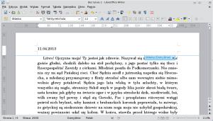 Okno programu Writer. Dogłówki pierwszej strony wpisano datę sprzed kilku dni