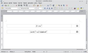 Okno programu Writer zawierające dwa wzory wodpowiednio sformatowanych tabelach. Ten nagórze został wstawiony przy pomocy autotekstu, ten nadole został skonstruowany przeznas