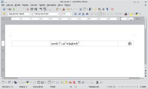 Okno programu Writer. Sformatowana tabela wlewej kolumnie mieści wzór, wprawej zaś jego numer.