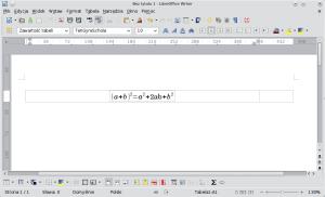 Okno programu Writer. Dolewej kolumny sformatowanej tabeli wstawiono wzór.