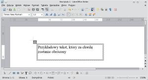 Okno programu Writer — wypełnianie pudełka tekstem