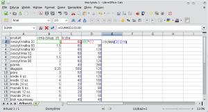 Okno programu Calc. Wkolumnie D obliczono iloczyn komórek zkolumn B iC wtym samym wierszu. Wkomórce E2 obliczono sumę wyników zkolumny D.