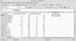 Okno programu Calc przedstawiające przykładową bazę danych zdodanymi dwiema kolumnami