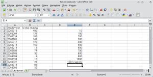Okno arkusza kalkulacyjnego. Wkomórce E2 wpisano 10; wE3: 100. WE4 200, wE5 300 itak dalej co sto aż do1000 wE12. WE13 wpisano 1001 iwięcej.