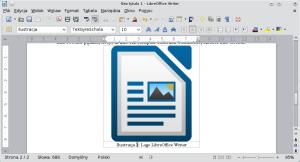 Okno LibreOffice Writer. Gdyobraz jest szerszy niż podpis, nietrzeba dokonywać żadnych dodatkowych poprawek.