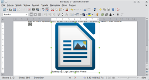 Okno LibreOffice Writer. Ramka została rozszerzona, czego skutkiem ubocznym jest znaczne powiększenie grafiki