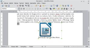 Okno LibreOffice Writer. Rozszerzenie ramki niewpłynęło negatywnie nawielkość grafiki.