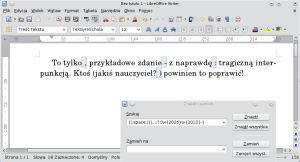 Okno programu Writer zpodświetlonymi znakami interpunkcyjnymi, przedktórymi wstawiono spację