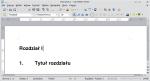 """Okno programu Writer ukazujące dwa akapity: jeden o stylu """"Nagłówek 1"""", drugi o stylu """"Rozdział"""""""