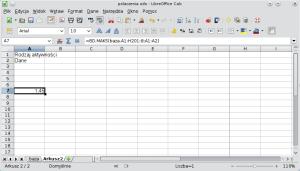 Okno programu Calc pokazujące najprostszy przypadek formuły bazy danych. A1: Rodzaj aktywności; A2: Dane.