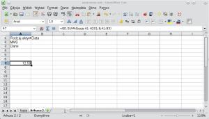 Okno programu Calc pokazujące formułę bazy danych wykorzystującą alternatywę. A1: Rodzaj aktywności; A2: MMS; A3: Dane.