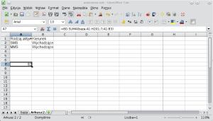 Okno programu Calc pokazujące formułę bazy danych wykorzystującą zarówno koniunkcję, jak ialternatywę. A1: Rodzaj aktywności; B1: Kierunek; A2: SMS; B2: Wychodzące; A3: MMS; B3: Wychodzące.