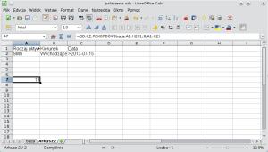 Okno programu Calc pokazujące formułę bazy danych wyodrębniającą rekordy przy pomocy operatora porównywania liczb; operator został użyty nakomórce zawierającej datę. A1: Rodzaj aktywności; B1: Kierunek; C1: Data; A2: SMS; B2: Wychodzące; C2: >2013-07-15.
