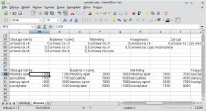 Okno programu Calc. Wkolumnie L wpisano stanowiska wdziale obsługi klienta. Wkolumnie M (naprawo) dolne granice zarobków nadanym stanowisku. Wkolumnie N (dalej naprawo) — górne granice zarobków.