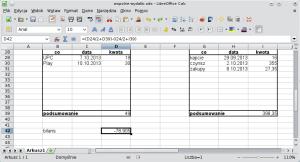 LibreOffice Calc. Wkomórce wprowadzono formułę (D24/2 + D39) - (I24/2 + I39). Wynikiem jest -78,905