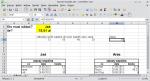Okno LibreOffice Calc. W komórkach C5:F5 wpisano: 72, 50, 40, 20. W komórce H5 wpisano formułę D5-E5/2-F5. Wyświetla się wynik 10