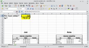 """Okno programu Calc. Wgórnym rogu wprowadzono podpisy (""""kto musi zapłacić?"""" oraz""""Ile?""""). Komórki obok nich mają żółte tło. Pierwsza znich pokazuje słowo """"Jaś"""" izawiera formułę JEŻELI(D42>0;H10;C10); druga znich pokazuje wartość bezwzględną wyniku równania sformatowaną jako walutę."""