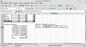 Okno programu Calc. Wkomórce F26 umieszczono formułę =TEST.CHI(B5:C10;B17:C22); wynikiem jest wartość p.Wkomórce F27 umieszczono formułę =ROZKŁAD.CHI.ODW(F26;C33); wynikiem jest wartość statystyki χ².