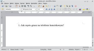 Okno programu Writer. Wpisany został akapit, któryzostał automatycznie opatrzony numerem
