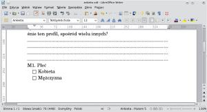 """Okno programu Writer. Kolejny akapit został automatycznie opatrzony numerem, przedktórym znajduje się litera """"M""""."""